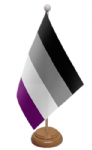Asexual Pride Desk / Table Flag with wooden stand and base